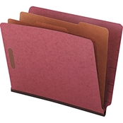 Universal Pressboard End Tab Classification Folders, Red, Six-Section 10 Bx.
