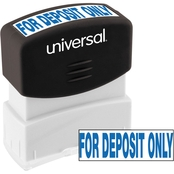 Universal Pre-Inked Blue Message Stamp: For Deposit Only