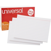 Universal 5 x 8 in. White Ruled Index Cards 500 Pk.