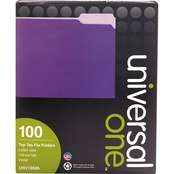 Universal One File Folders, 1/3 Cut One-Ply Top Tab, Letter, 100 Pk.