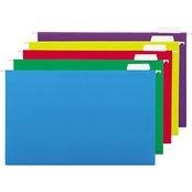 Universal One Hanging File Folders, 1/5 Tab, 11 Pt., Legal, Assorted Colors, 25 Pk.