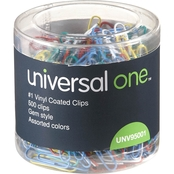 Universal One Vinyl-Coated Wire Paper Clips 500 Pk.