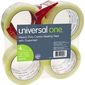Universal One Heavy-Duty Box Sealing Tape with Dispenser, 3 In. Core, Clear, 4 Pk.