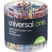 Universal One Jumbo Vinyl-Coated Wire Paper Clips 250 Pk.