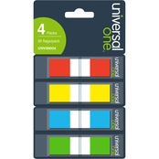 Universal One Page Flags, Assorted Colors, 35 Flags/Dispenser, 4 Dispensers/Pack