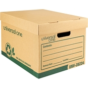 Universal One Recycled Record Letter 12 x 15 x 10 in. Kraft Storage Box 12 Pk.