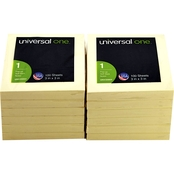 Universal One Fan-Folded Self-Stick 3 in. x 3 in. Yellow Pop Up Note Pad 12 Pk.