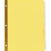 Universal One Extended Assorted Color 5 Tab Insert Buff Letter Index 6 Pk.