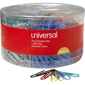 Universal Assorted Colors Vinyl Coated Wire No. 1 Paper Clips 1000 pk.