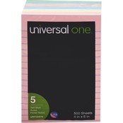 Universal One 4 x 6 in. Lined Self-Stick Notes 5 Pk.