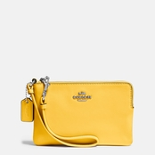 COACH Corner Zip Wristlet In Smooth Leather