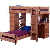 Chelsea Home Furniture Twin Over Twin Student Loft Bed with Desk and Chest Ends