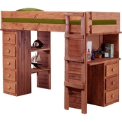 Chelsea Home Furniture Twin Student Loft Bed with Desk and Chest Ends