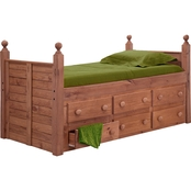 Chelsea Home Furniture Twin Panel Post Bed with 6 Drawers