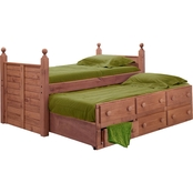 Chelsea Home Furniture Twin Panel Post Bed with Twin Trundle Unit