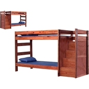 Chelsea Home Furniture Twin Over Twin Staircase Bunk Bed