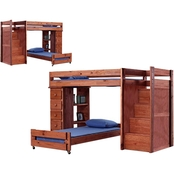 Chelsea Home Furniture Twin Over Twin Staircase Bunk Bed + 5 Drawer Lingerie Chest