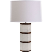 Dimond Lighting White Marble and Wood Hexagon Table Lamp