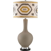 Dimond Lighting Matte Gray Lamp with Patterned Shade