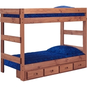 Chelsea Home Furniture Twin Over Twin Bunk Bed with Storage