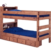Chelsea Home Furniture Twin Over Twin Bookcase Bunk Bed with Storage