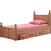Chelsea Home Furniture Twin Bed with Panel Headboard Posts and Storage
