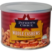 Patriot's Choice Whole Cashews 8.25 oz.