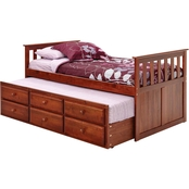 Chelsea Home Twin Mission Style Captain's Bed with Trundle & Storage Dark