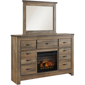 Ashley Trinell Dresser, Mirror And Fireplace Set