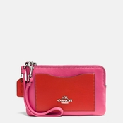 COACH Boxed Corner Zip Wristlet In Colorblock Leather