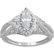 14K White Gold 1 CTW Marquise Diamond Engagement Ring