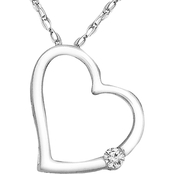Sterling Silver 1/20 CTW Diamond Heart Pendant