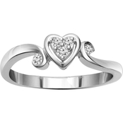 14K White Gold Diamond Accent Ring, Size 7