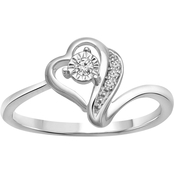 10K White Gold Diamond Accent Ring, Size 7
