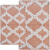 Chesapeake Double Quatrefoil 2Pc. Subtle Green Bath Rug Set 36965
