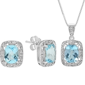 Blue Topaz Cushion Pendant and Earring, Crafted in Sterling Silver with Box Chain