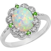 1.2 CTW Created Opal and 0.033 CTW Chrome Diopside Ring in Sterling Silver
