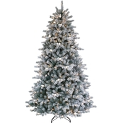 Puleo  7 Ft. Jingle Bell Artificial Flocked Christmas Tree