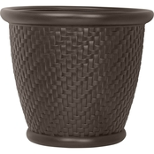 Suncast Herringbone Round Bronze Painted Blow Molded Resin Planter
