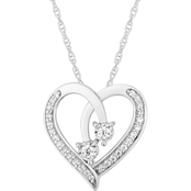 2 in Love 14K White Gold 1/5 CTW Two Stone Heart Pendant