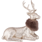 Glittered Reindeer with Fur Collar