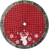 48 Inch Plaid Tree Skirt With Faux Fur Border