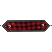 Plaid Runner With Applique, Fleece Border and Tassels