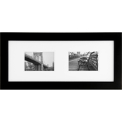 Gallery Solutions 8 x 20 Black Frame Matted to Two 6 x 4