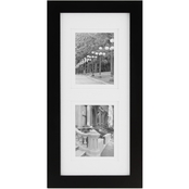 Gallery Solutions 8 x 20 Black Frame, Matted To Two 5 x 7