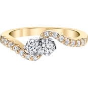 2 in Love 14K Yellow Gold and White Gold 3/8 CTW Fashion Ring