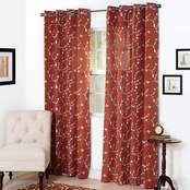 Lavish Home Inas Embroidered Curtain Panels, Rust