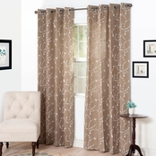 Lavish Home Inas Embroidered Curtain Panels, 54 x 84, Taupe