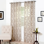 Lavish Home Andrea Embroidered Curtain Panels, 54 x 84, Chocolate