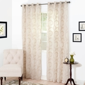 Lavish Home Andrea Embroidered Curtain Panels, 54 x 84, Taupe